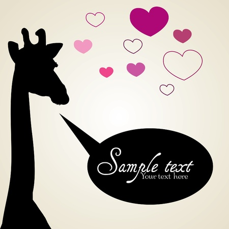 Giraffe in love with chat bubble Illustration