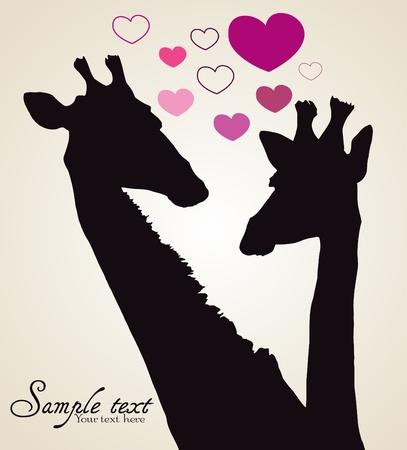 giraffe silhouette: Giraffe in love with
