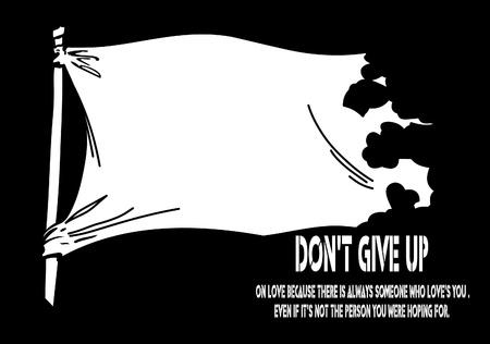 Vector white flying flag on a clear black background for designers  Illustration