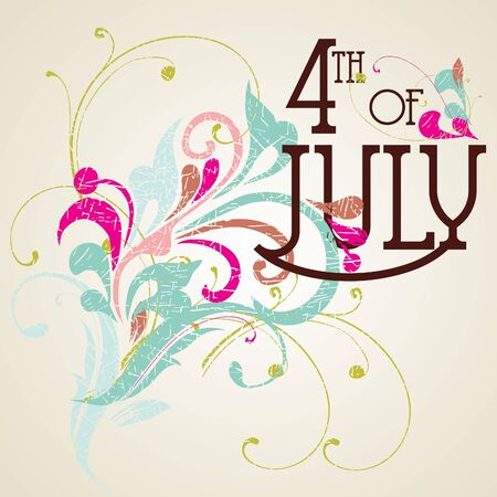 Independence Day- 4 of July- Vintage card Vector