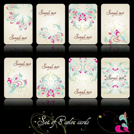 Set of eight beautiful floral and vintage cards Illustration