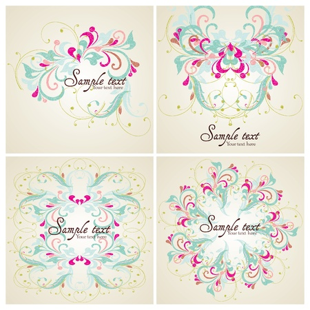 Set of Vintage card design for greeting card, invitation, menu, cove Vector