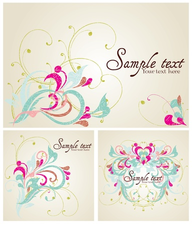Set of Vintage card design for greeting card, invitation, menu, cove Illustration