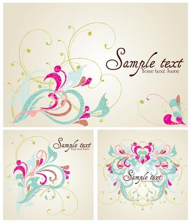 Set of Vintage card design for greeting card, invitation, menu, cove Stock Vector - 13227412