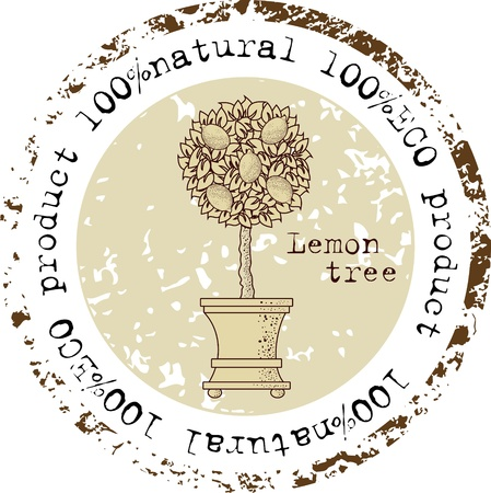 Grunge rubber stamp with lemon tree shape and the word natural written inside the stamp Illustration