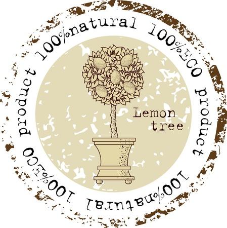 limones: Grunge sello de goma con forma de �rbol de lim�n y el natural de la palabra escrita en el interior del sello
