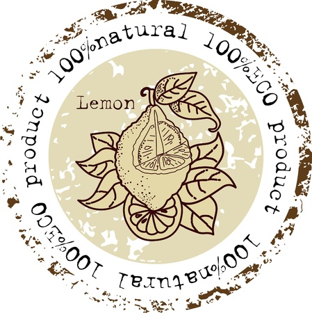 Grunge rubber stamp with lemon shape and the word natural written inside the stamp Vector
