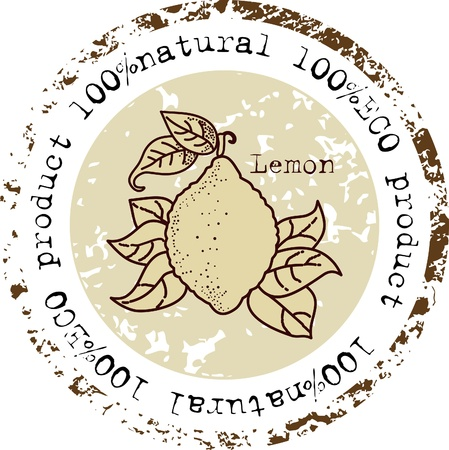 Grunge rubber stamp with lemon shape and the word natural written inside the stamp Stock Vector - 13334955