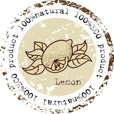 Grunge rubber stamp with lemon shape and the word natural written inside the stamp Stock Vector - 13334954