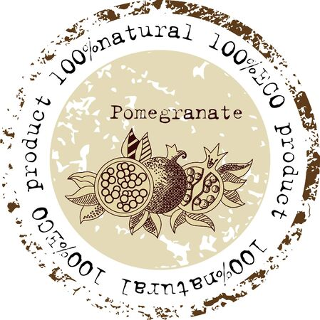 Grunge rubber stamp with pomegranate shape and the word natural written inside the stamp