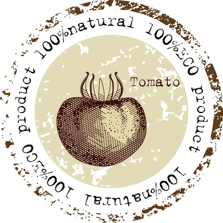 Grunge rubber stamp with tomato shape and the word natural written inside the stamp