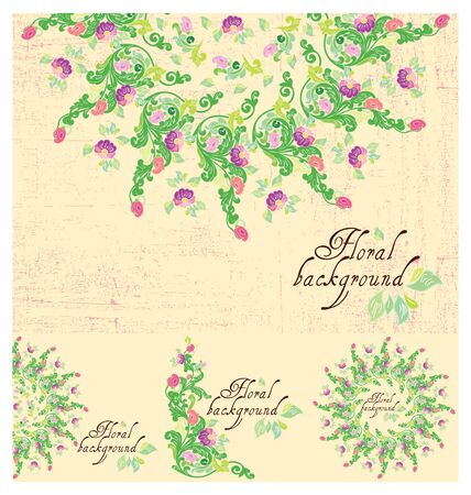 Set of Floral background, greeting card Stock Vector - 13334952