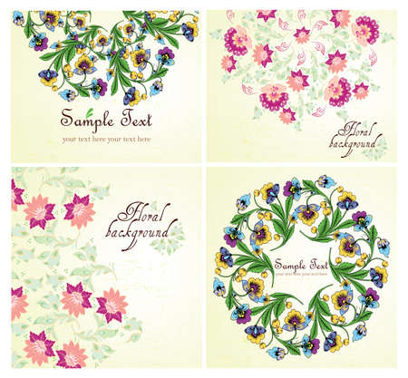 Set of Floral background, greeting card Stock Vector - 13334953