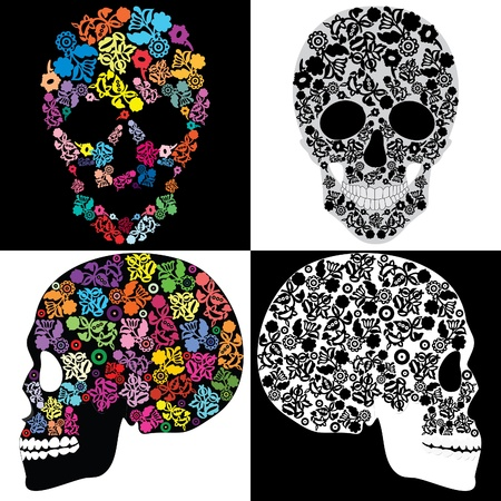Human skulls in flowers, isolated Illustration