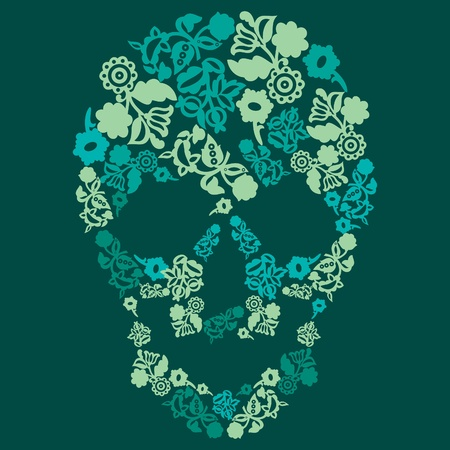 Human skull in flowers, isolated Vector