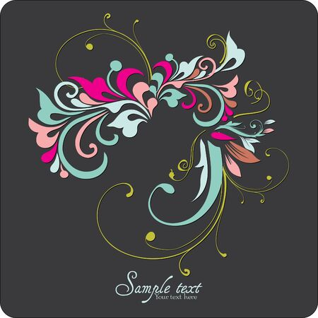 Vintage card design for greeting card, invitation, menu, cover on black background Stock Vector - 13465558
