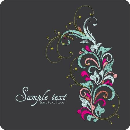 Vintage card design for greeting card, invitation, menu, cover on black background Stock Vector - 13465562