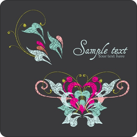 Vintage card design for greeting card, invitation, menu, cover on black background Vector