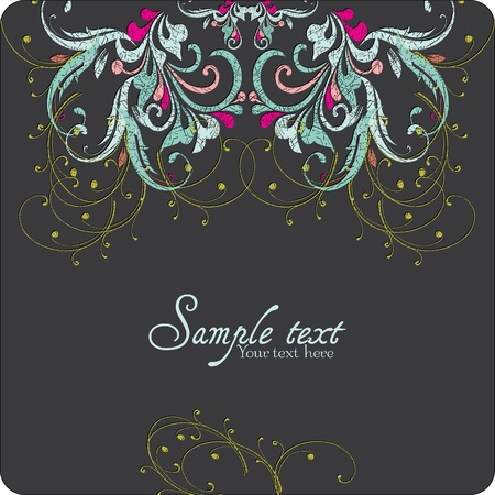 Vintage card design for greeting card, invitation, menu, cover on black background