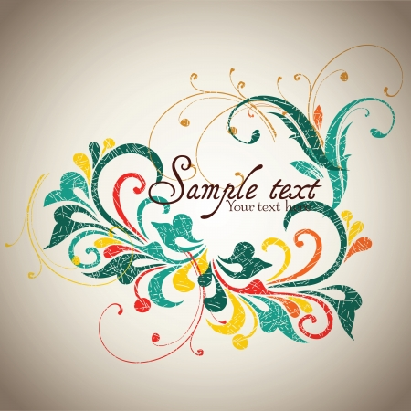 Vintage card design for greeting card, invitation, menu, cover on black background  Illustration