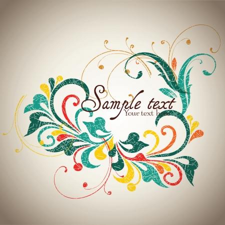 greeting card background: Vintage card design for greeting card, invitation, menu, cover on black background  Illustration