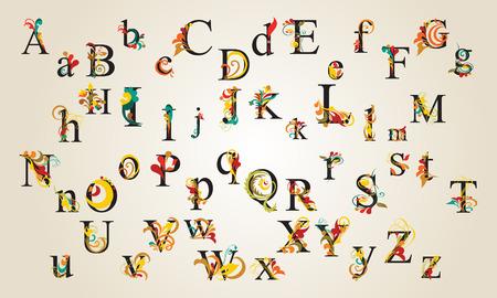Hand Draw Vintage Alphabet Stock Vector - 32611080