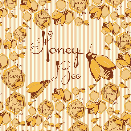Vector honey background and bee on honeycomb label for your design Vector