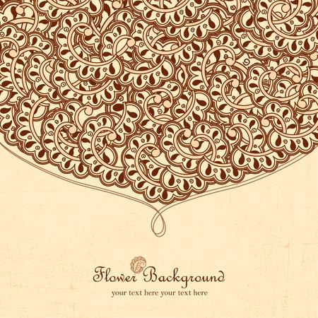 indische muster: Hand gezeichnet Doodle-Frame mit Platz f�r Text. Weinlese-Vektor-Muster. Hand gezeichnet abstrakten Hintergrund. Dekorative Retro- Fahne. Kann f�r Banner, Einladung, Hochzeitskarte, Scrapbooking und andere verwendet werden.
