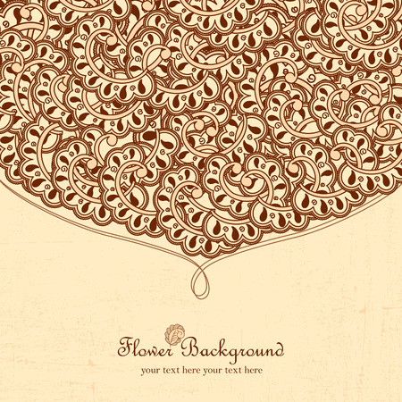 Hand drawn doodle frame with place for text. Vintage vector pattern. Hand drawn abstract background. Decorative retro banner. Can be used for banner, invitation, wedding card, scrapbooking and others.