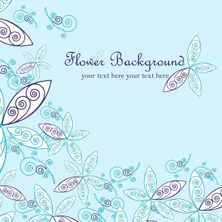 linework: Floral background, greeting card. Vector illustration.