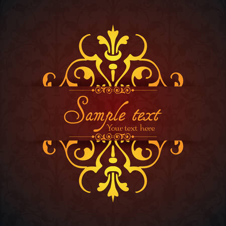 aristocratically: Vintage ornamental template with pattern and decorative frame. Vector illustration. Illustration
