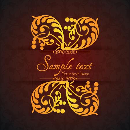 decorative frame: Vintage ornamental template with pattern and decorative frame. Vector illustration. Illustration