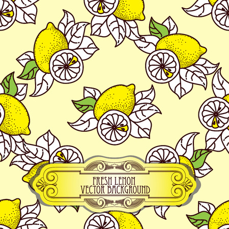 citrus tree: Lemon seamless pattern