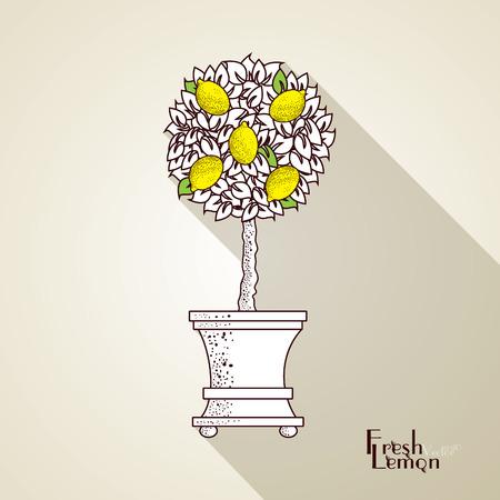Vector. Fresh lemons tree with leaves