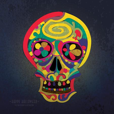 halloween greetings: Halloween Greetings Poster Design. Hand Drawn Skull