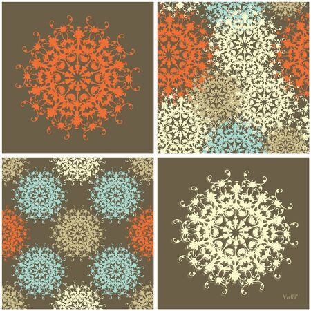 gentle: Seamless set and abstract elements vector texture in gentle colors