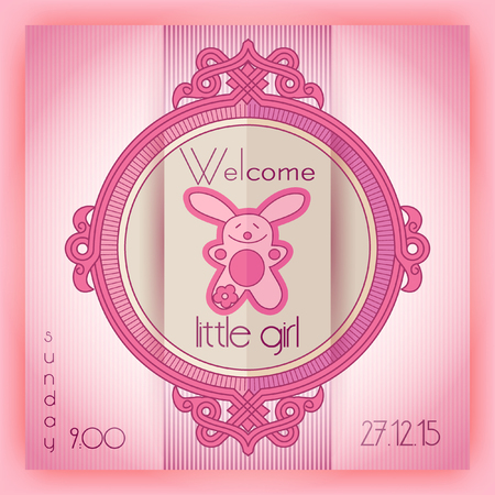 baby girl: Baby girl shower invitation card