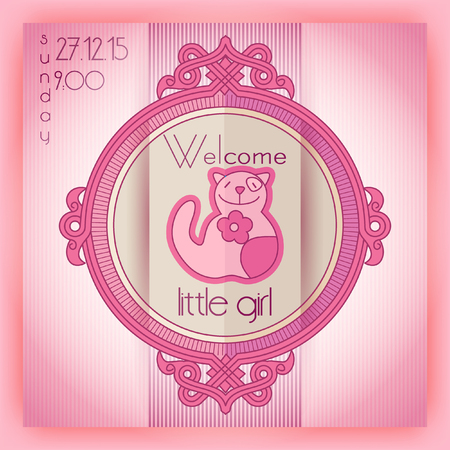 girl in shower: Baby girl shower invitation card