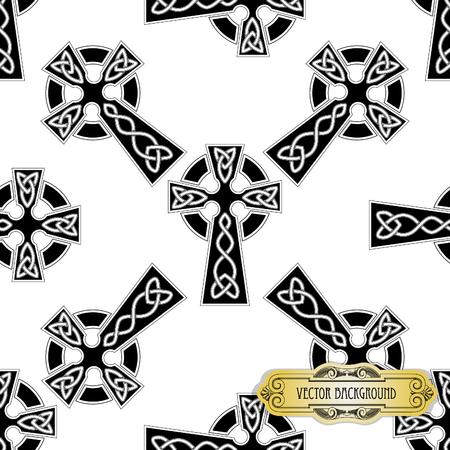cruz religiosa: Vector sin fisuras cruz celta Vectores