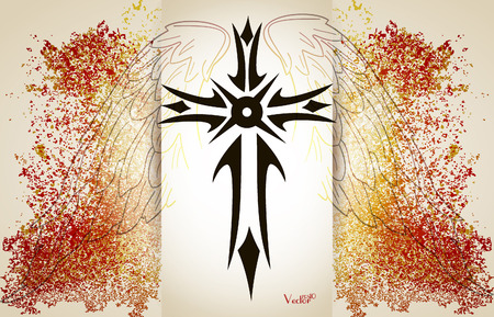 cross and wings: Vector celtic cross with wings