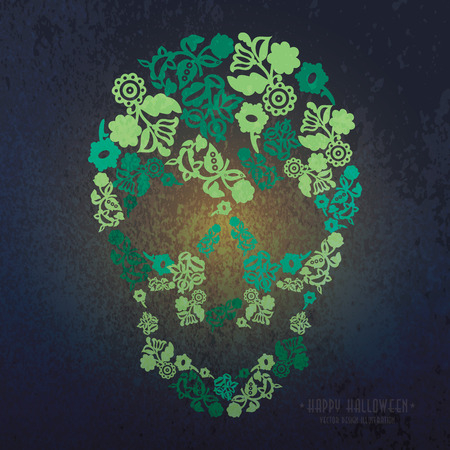 halloween greetings: Halloween Greetings Poster Design with skull
