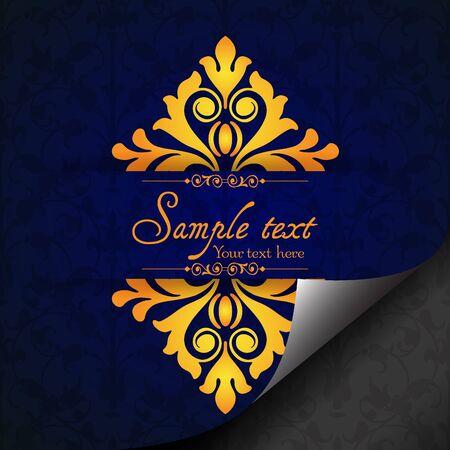Vintage ornamental template with pattern and decorative frame, curled page design. Vector illustration. Illustration