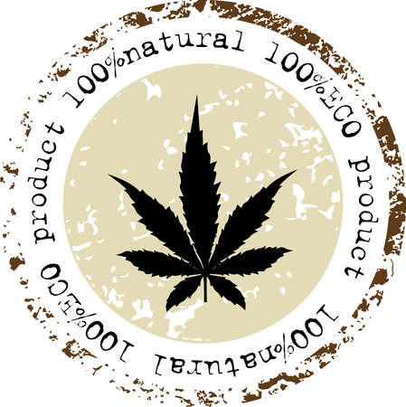tetrahydrocannabinol: Cannabis leaf icon. Eco Product - Vector