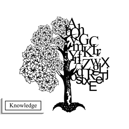 knowledge tree: Black and white image of knowledge tree