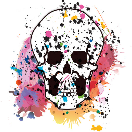 grease paint: Vector skull on a grunge background