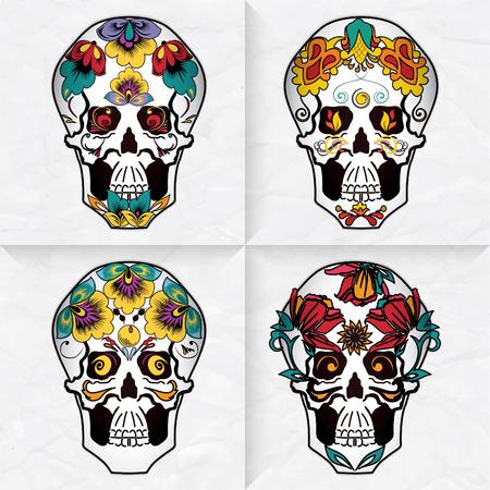 macabre: Set of colorful mexican skulls