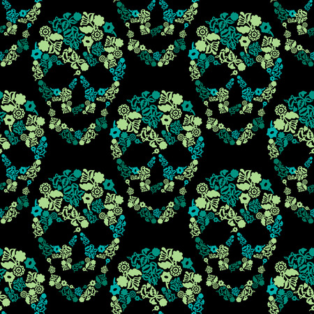 Seamless background with vector skulls