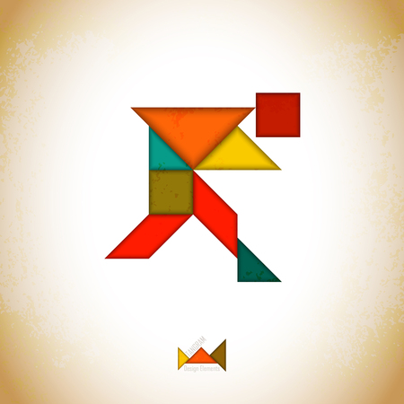 Tangram people, l made of tangram pieces, geometric shapes. Traditional Chinese puzzle tangram solution card, learning game for kids, children. Abstract geometric art