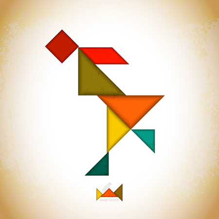 icon series: Tangram people, l made of tangram pieces, geometric shapes. Traditional Chinese puzzle tangram solution card, learning game for kids, children. Abstract geometric art