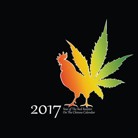Vector illustration of rooster, symbol of 2017 on the Chinese calendar. Vector element for New Years design. Image of 2017 year of Red Rooster.